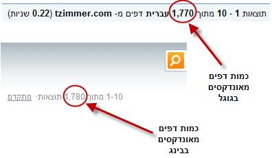דפים מאונדקסים בבינג מול גוגל