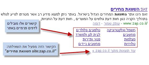 דוגמא ל- Sitelinks