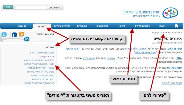 דוגמא להיררכייה טובה באתר UXI - חוויית משתמש ישראל