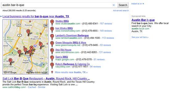 תוצאות חיפוש עם מפה