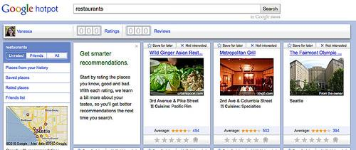 Google Hotpot - מערכת המלצות מבוססת מיקום