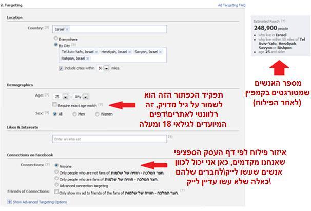 איך לטרגט מודעת פייסבוק
