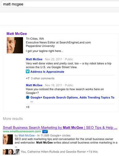 עמודי גוגל פלוס בתוצאות החיפוש