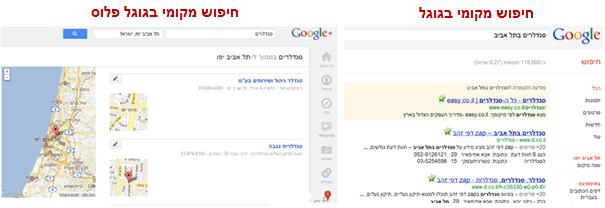 חיפוש מקומי רגיל מול גוגל פלוס