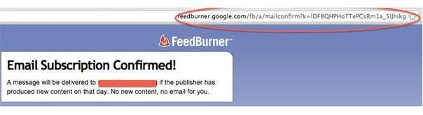 דף תודה ב-feedburner