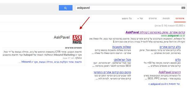 עמוד גוגל פלוס של askpavel בתוצאות החיפוש