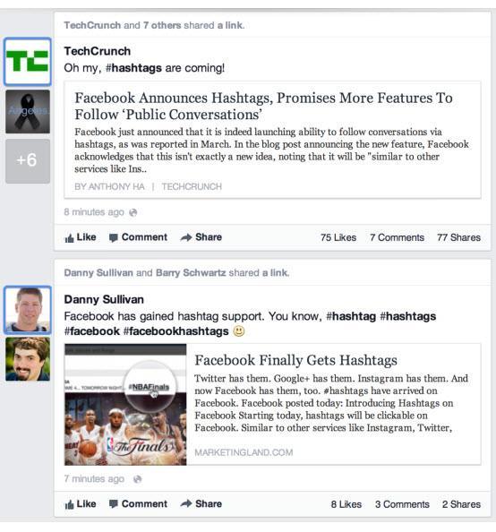 האשטאגס בפייסבוק