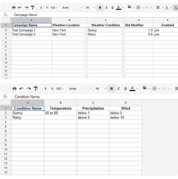 טבלה ב-Spreadsheet של גוגל