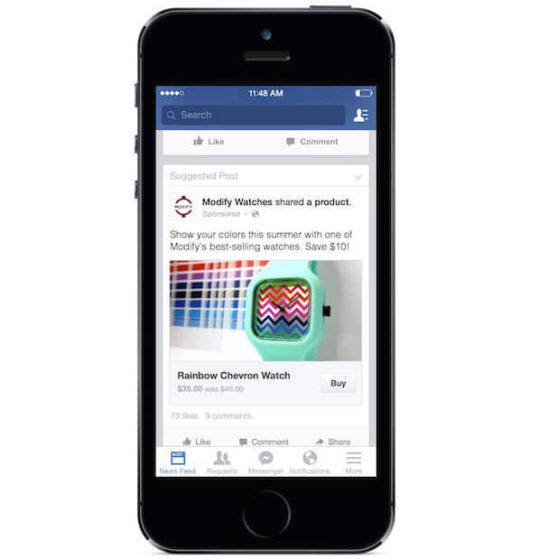 קניית מוצר בפייסבוק