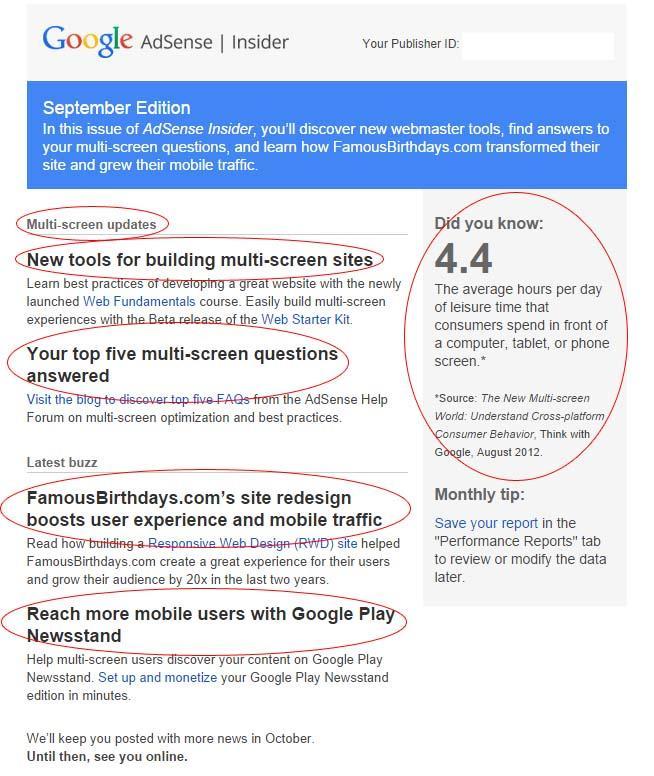 הניוזלטר של גוגל אדסנס
