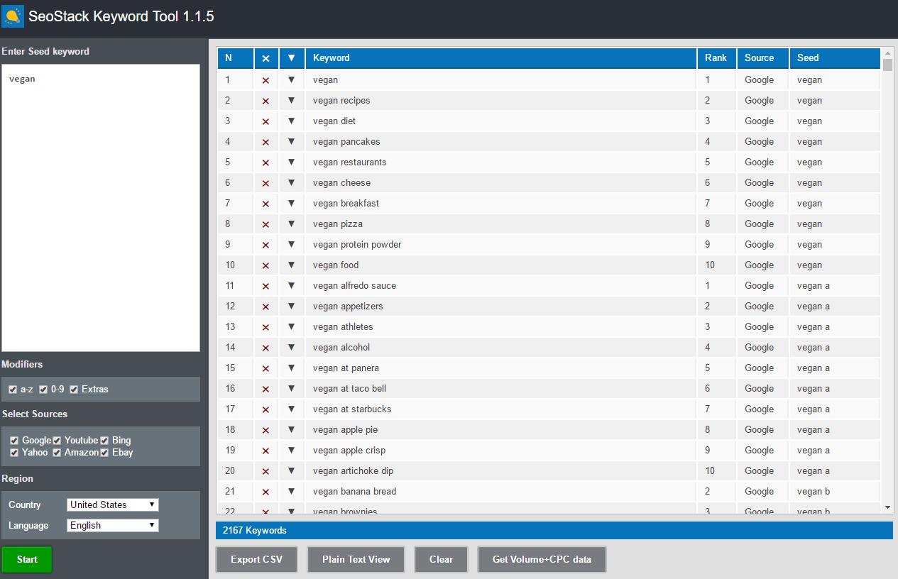 SEOStack Keyword Tool example