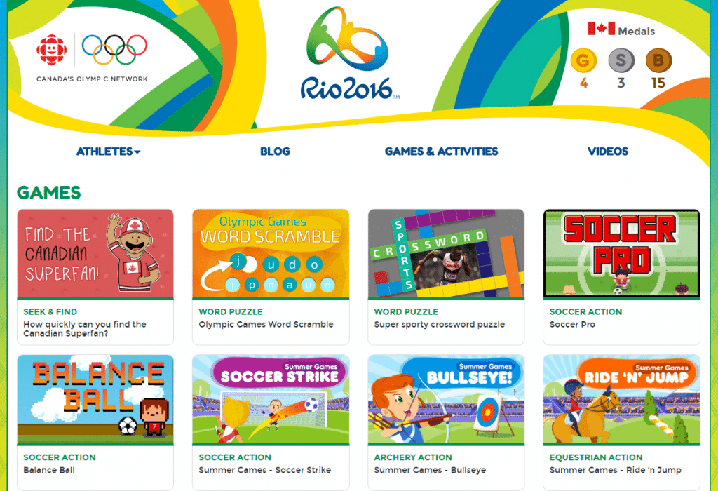 CBC Radio Canada olympics website