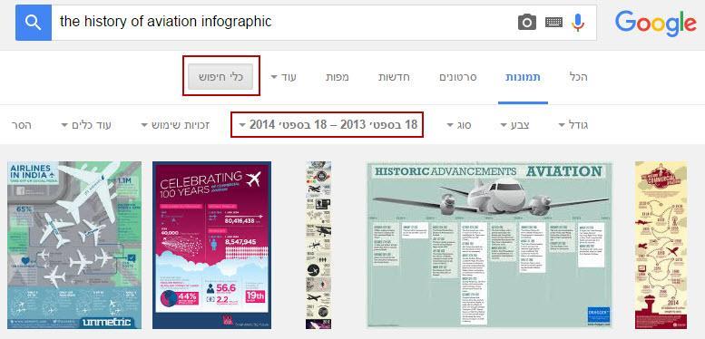 חיפוש אינפוגרפיקה בגוגל תמונות