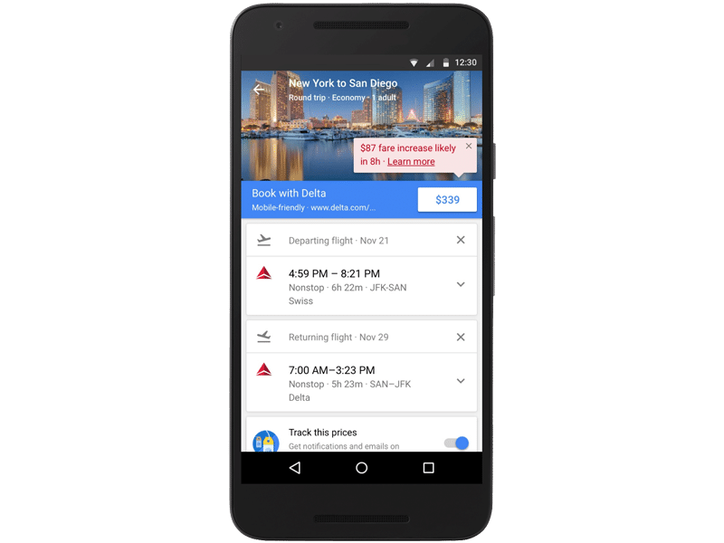 Google Flights Fare Increase Notification