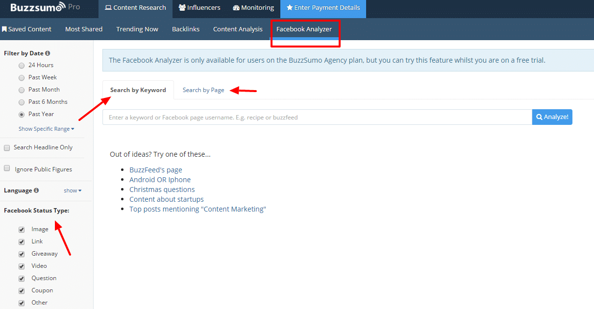 Facebook Analyzer BuzzSumo