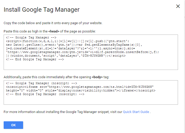Install Tag Manager