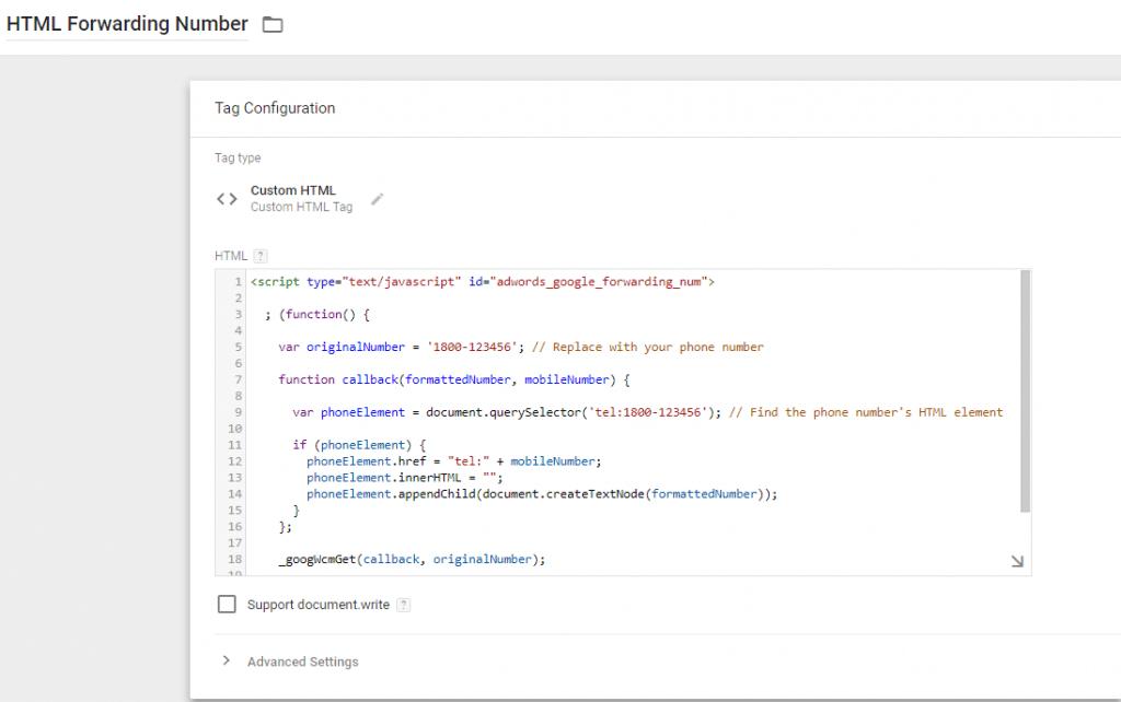 HTML Forwarding Number