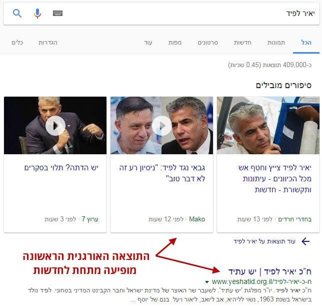 חדשות גוגל בראש התוצאות