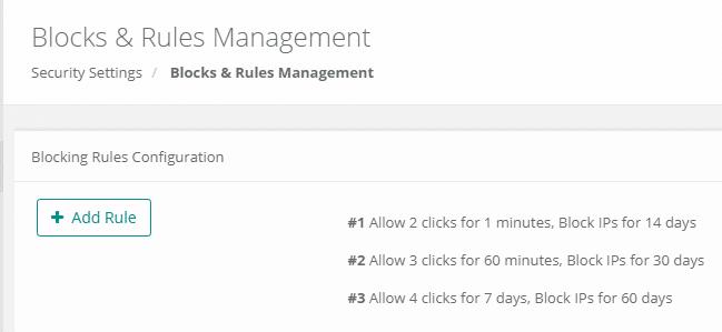 Blocking rules configuration
