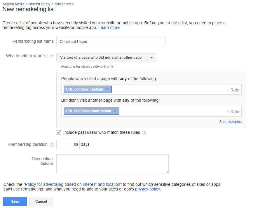 remarketing list settings