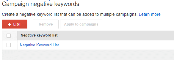 campaign negative keywords