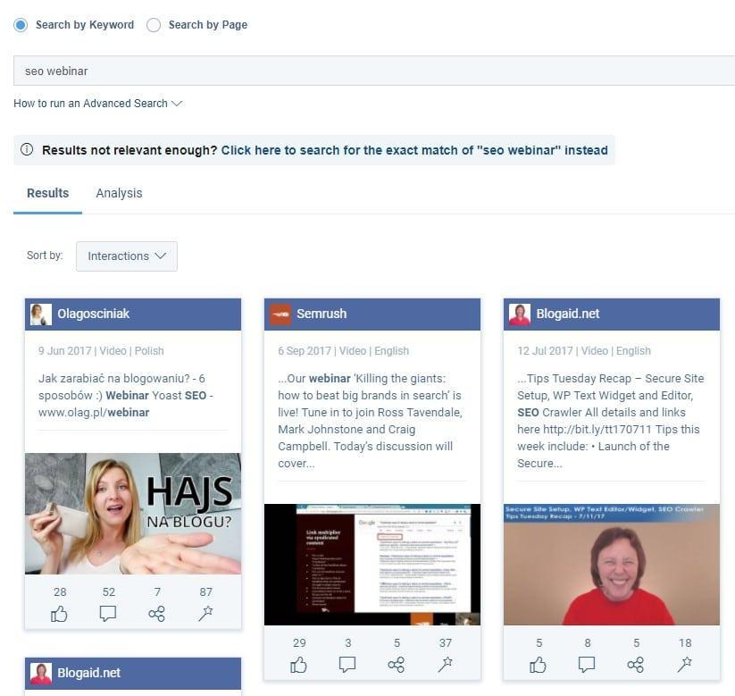 חיפוש סרטוני פייסבוק ב-Buzzsumo
