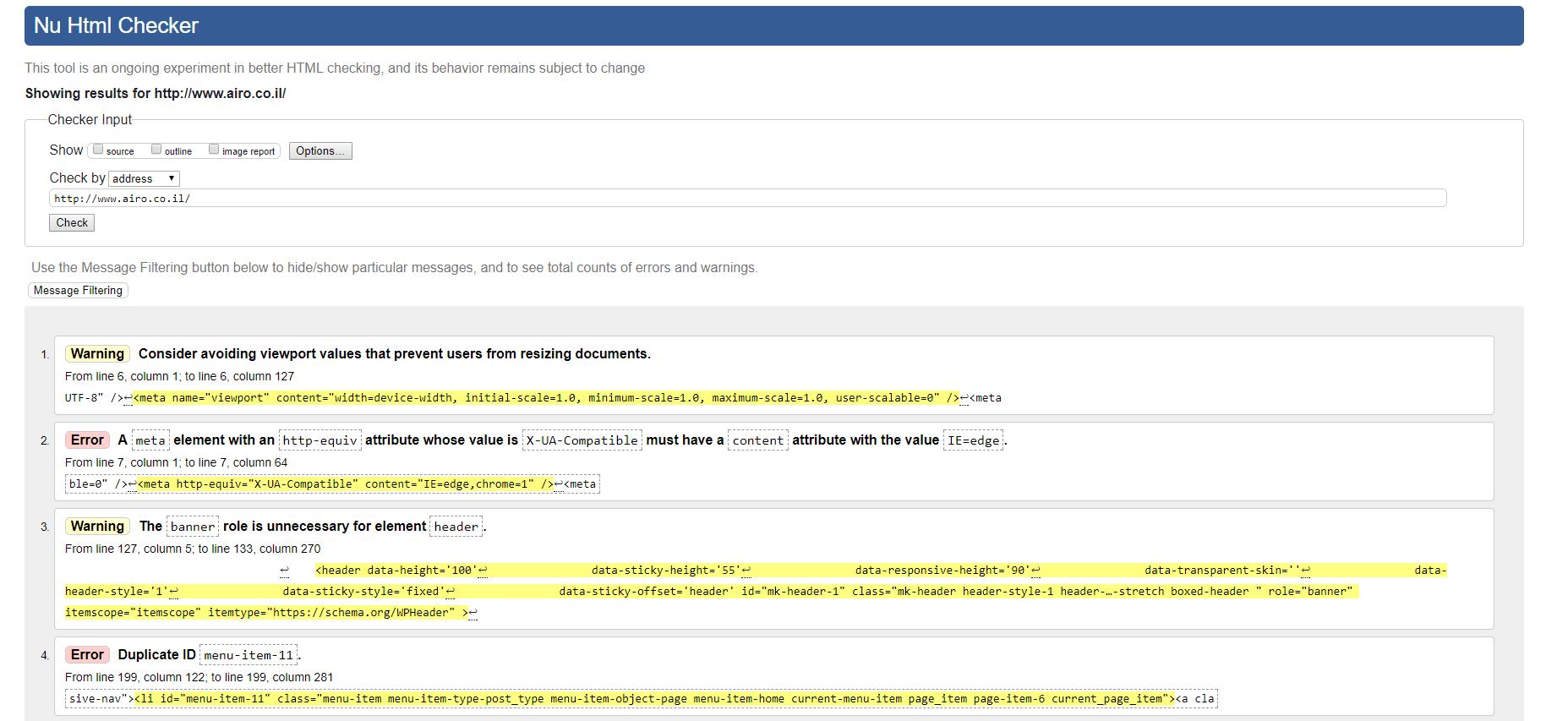 בדיקת קוד האתר