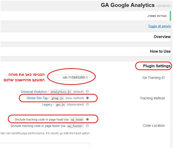 גוגל אנליטיקס תוסף וורדפרס