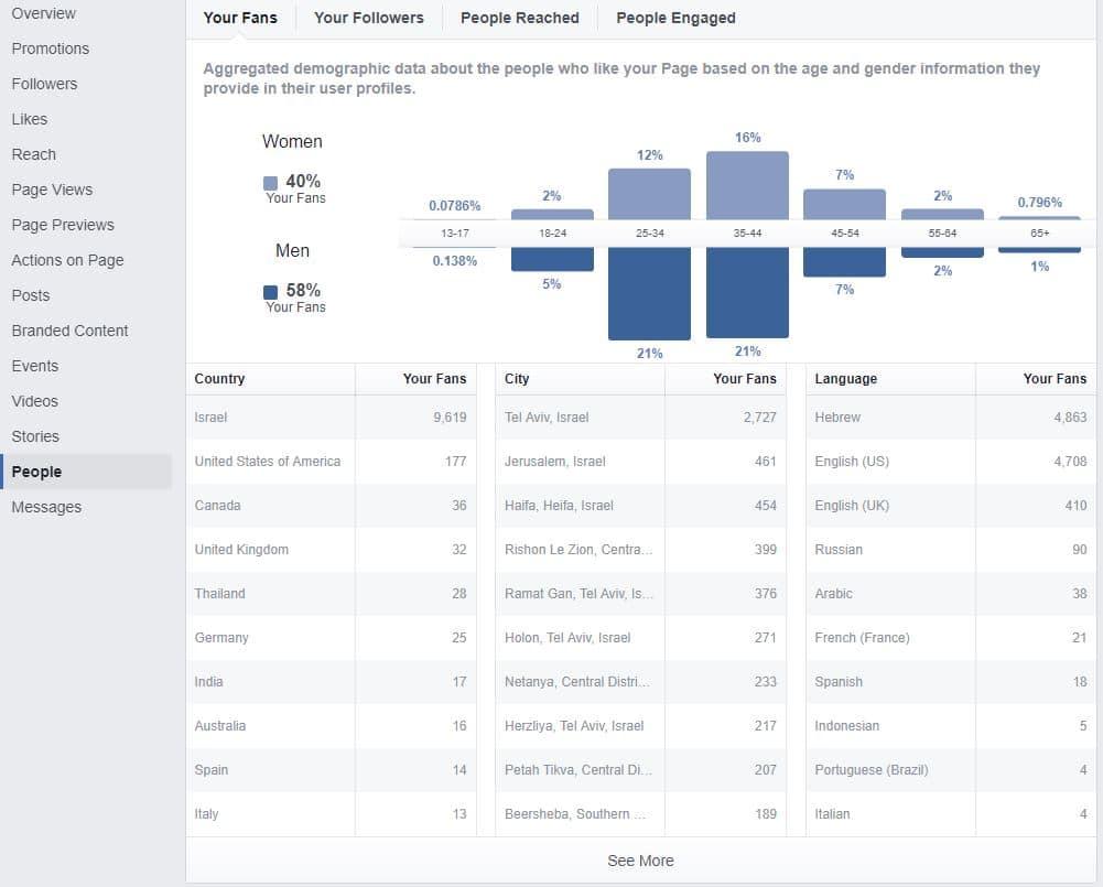 נתונים דמוגרפים על עוקבים בפייסבוק