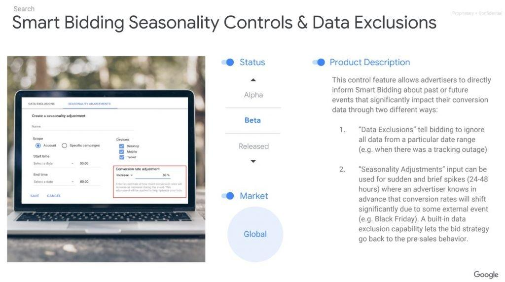 Smart Bidding Seasonality Controls & Data Exclusions