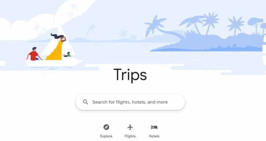 גוגל Trips - מנוע הזמנת טיסות, מלונות, טיולים וחבילות נופש