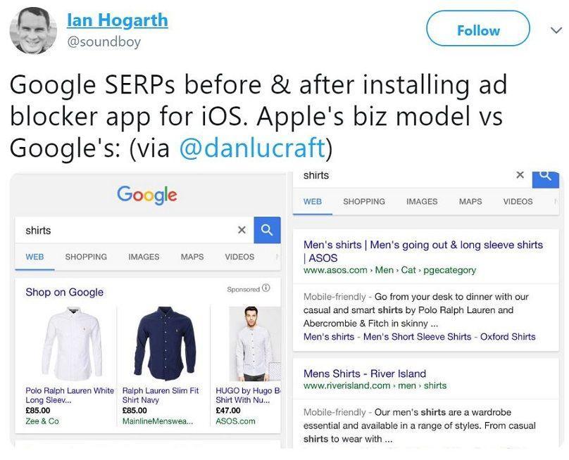 תוצאות גוגל עם ובלי פרסומות