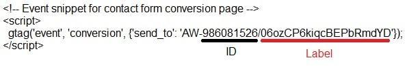 סימני ID ולייבל של גוגל אדס בתוך תג המרה gtag