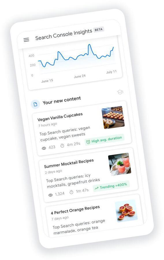 תובנות תוכן בקונסולת החיפוש של גוגל