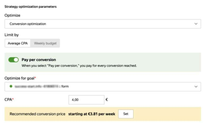 הצעת מחיר ביאנדקס לפי פעולה / המרה (CPA)