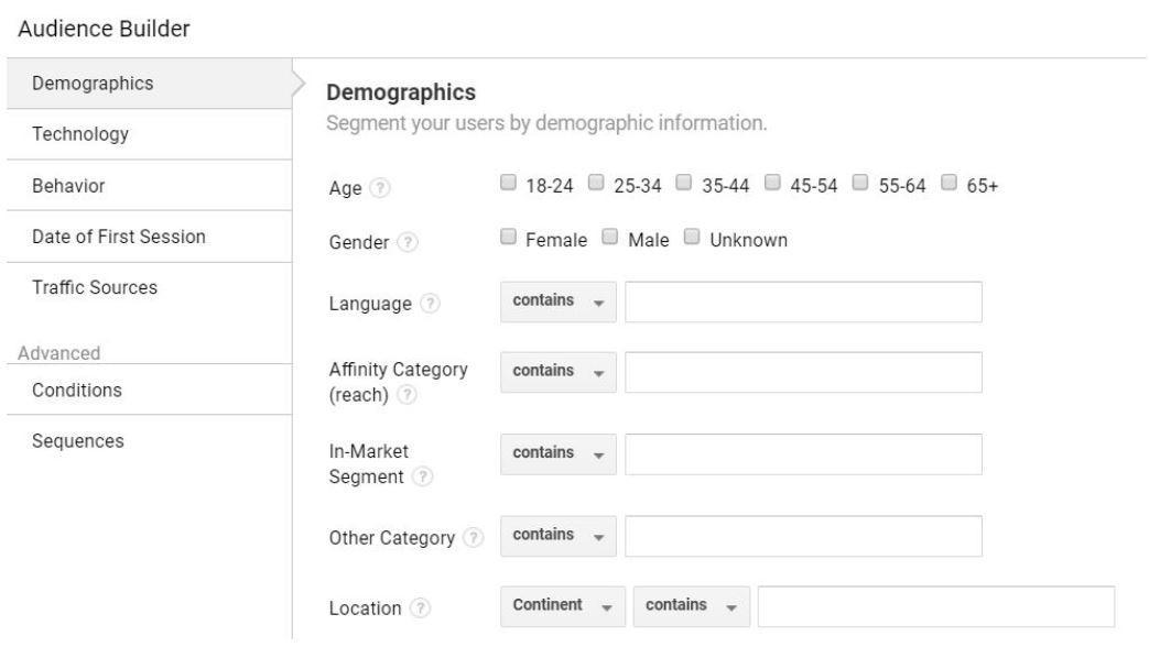 בונה הקהלים של גוגל אנליטיקס