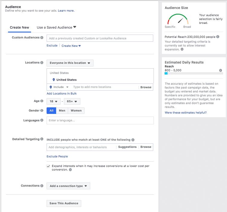 אפשרויות טרגוט קהל יעד בפייסבוק