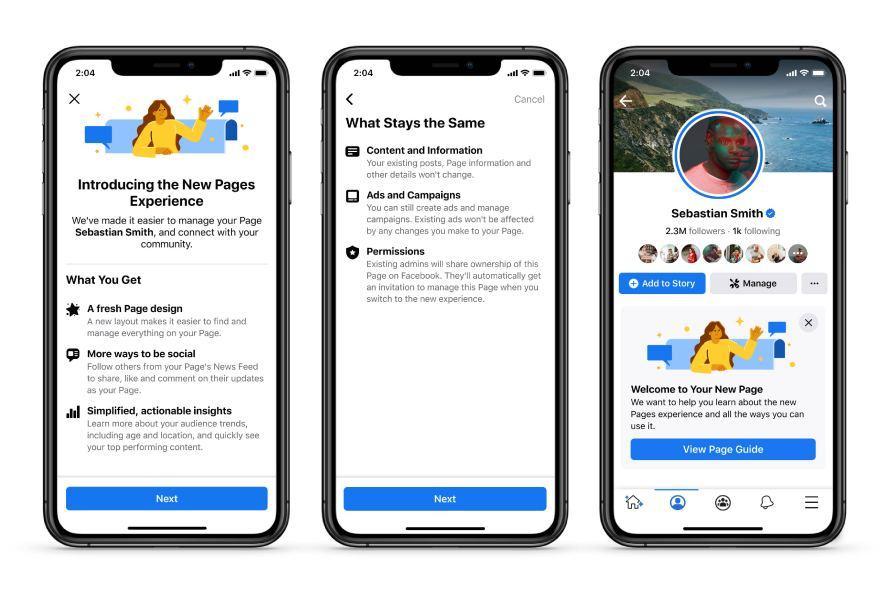 עיצוב חדש לעמודי פייסבוק 2021