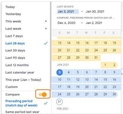 השוואות לפי תאריכים באנליטיקס 4