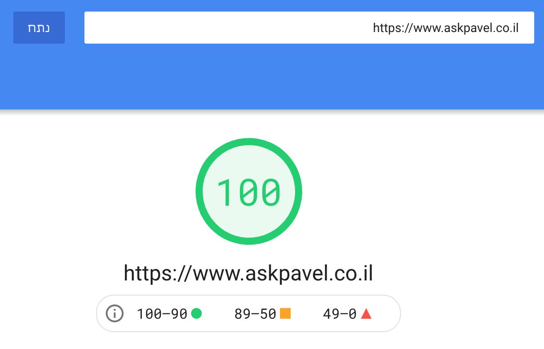 ציון 100 מתוך 100 בגוגל