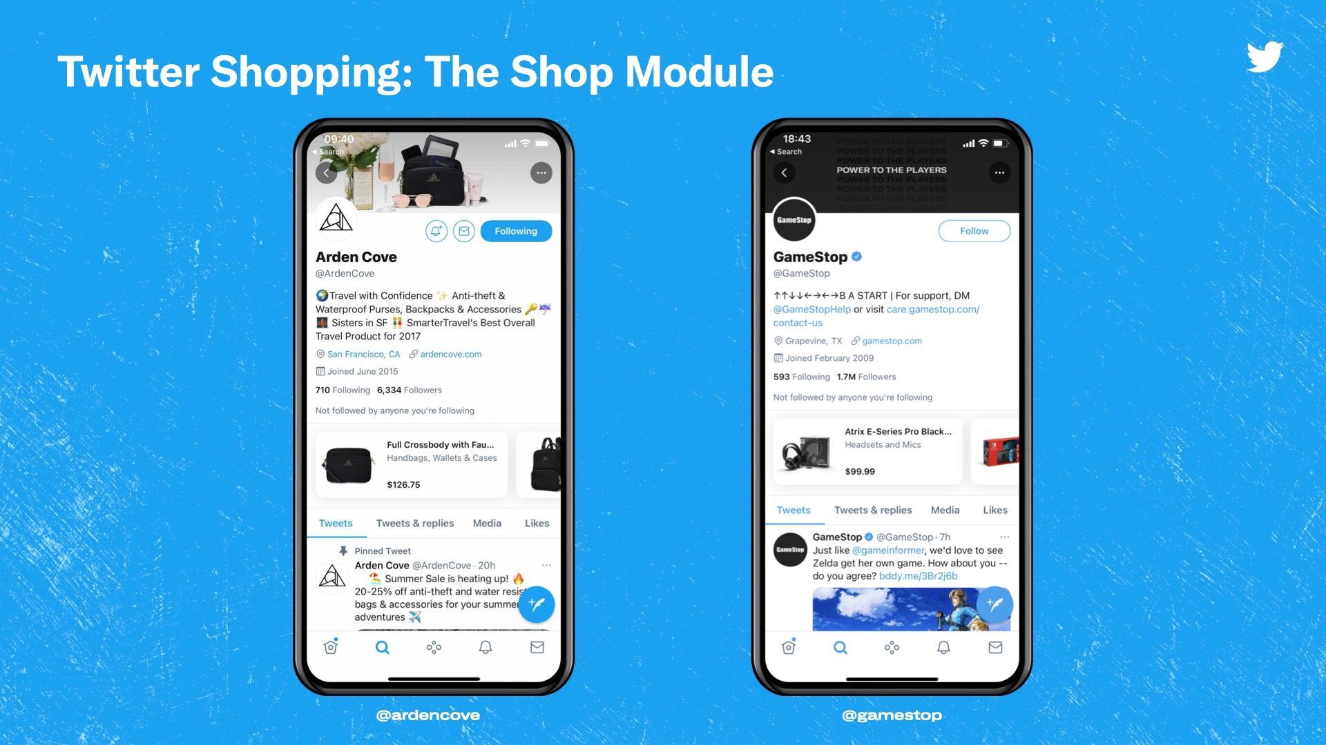 דוגמת קרוסלת מוצרים בטוויטר